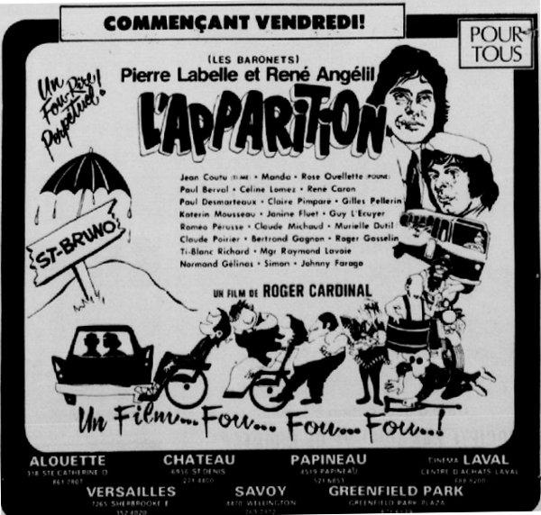 Encart publicitaire pour le film L'Apparition de Roger Cardinal (Le Petit Journal, 23 mars 1972)
