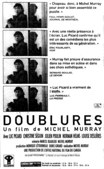Encart publicitaire du film Doublures paru dans La Presse du 22 janvier 1994 (coll. filmsquebec.com)