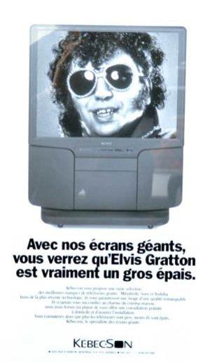 Publicité Kébecson utilisant le personnage d'Elvis Gratton (source kebecson.com)