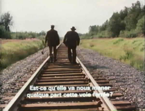 La voie ferrée, symbolique espoir de la cavale dans La fuite de Robert Cornellier (VHRrip - Collection personnelle)