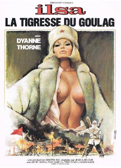 Affiche française du film Ilsa the Tigress of Siberia intitulée Ilsa la tigresse du goulag (on y voit une blonde à forte poitrine vêtue de fourrure blanche))