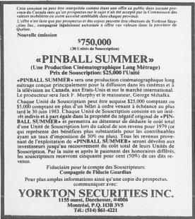 Pinball Summer : Avis de souscription paru dans la presse (juin 1979)