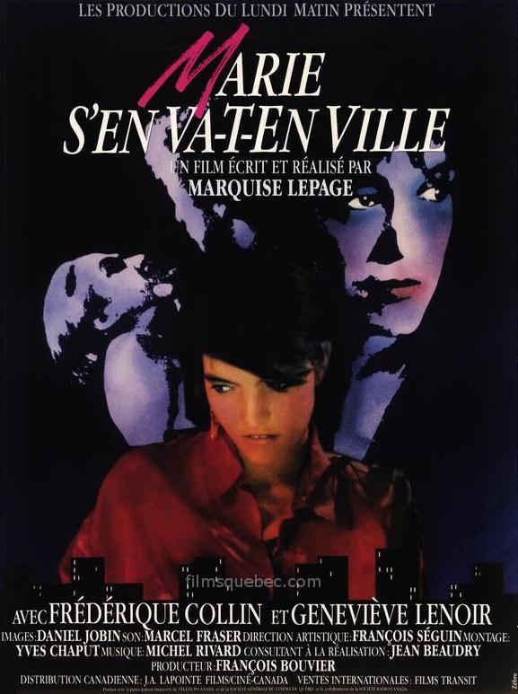 Affiche du film Marie s'en-va-t-en ville de Marquise Lepage (les deux comédiennes principales sont stylysées apparaissant sur fond noir)