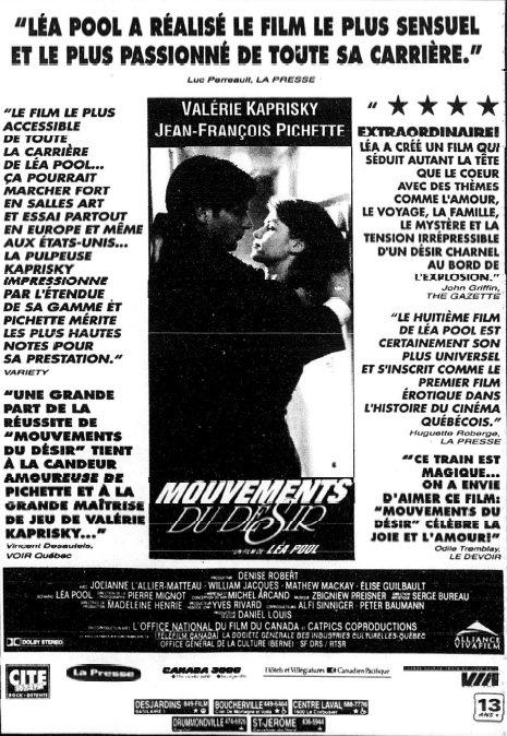 Encart La Presse (19 fév. 1994) pour le film Mouvements du désir