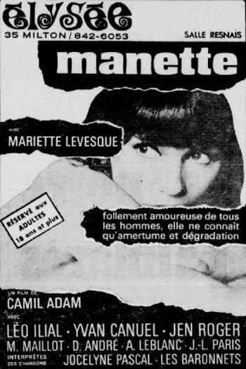 Encart publicitaire du film Manette dans Le petit journal du 31 décembre 1967