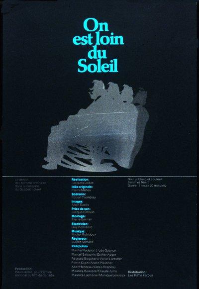 Affiche du film On est loin du soleil (Jacques Leduc, 1970 - Coll. Archives Canada)