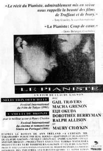 Encart publicitaire du film The Pianist (Le pianiste en VF) paru dans La Presse le 1er février 1992