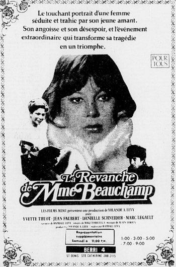 Encart publicitaire du film La Revanche de Madame Beauchamp (1980)