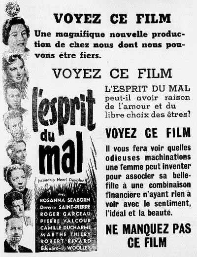 Encart publicitaire paru dans L'Union des Cantons-de-l'Est du 22 avril 1954 pour le film L'esprit du mal (Collection filmsquebec.com)