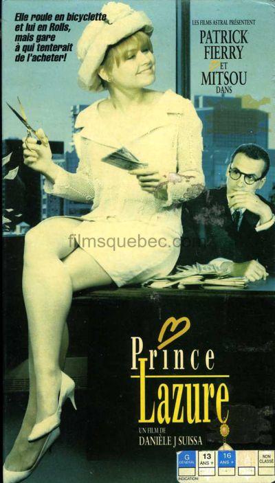 Jaquette VHS du téléfilm Prince Lazure - Mitsou est assise (en jupe courte) sur le bureau de Monsieur Lazure