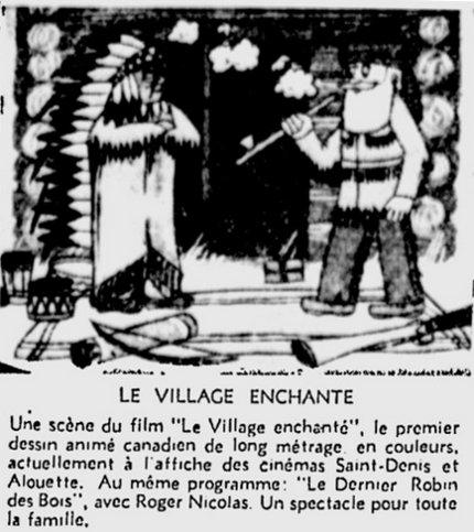Encart paru dans Le Devoir du 29 décembre 1955 ventant le film d'animation Le village enchanté