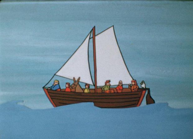 Une scène extraite du film Le village enchanté (un bateau rempli de colons vogue sur la mer)