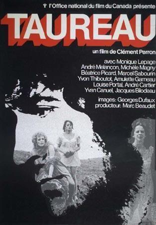 Affiche du film Taureau de Clément Perron (Coll. Cinémathèque québécoise)