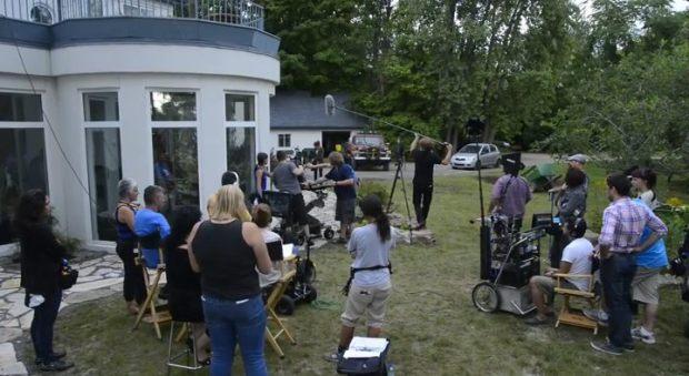 Une image du tournage du film Le scaphandrier