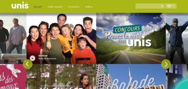 Image écran de la page d'accueil de la chaîne Unis.ca