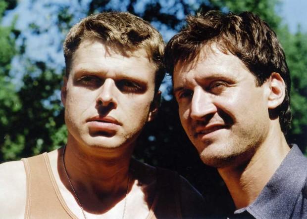 Réal Bossé et François Papineau durant le tournage du film La Bouteille (Image: Caroline Hayeur - Source: Coll. personnelle)