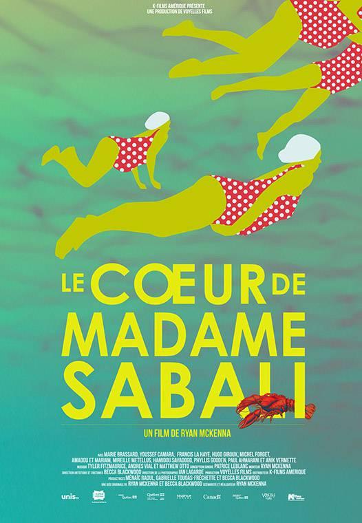 Affiche du film Le coeur de madame Sabali - Une création d'Anna Binta Diallo - Dessin abstrait aux tons de verts, on y voit des baigneuses en costume de bain rouge à pois blancs.