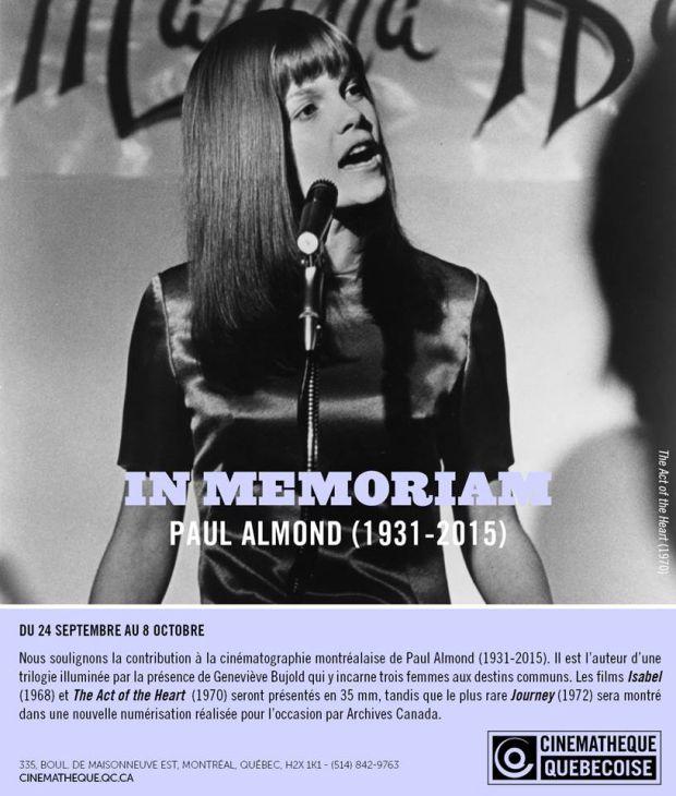 Visuel de l'hommage rendu à Paul Almondpar la Cinémathèque québécois en septembre 2015. On y voit la comédienne Geneviève Bujold dans le film Act Of The Heart.