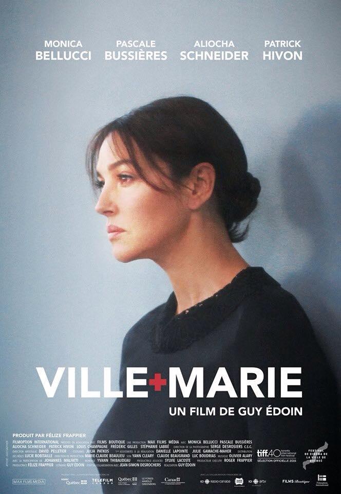 Affiche du film Ville-Marie (Guy Édoin). Affichiste : Julie Gauthier - On y voit Monica Bellucci de profil adossée à un mur bleu gris.
