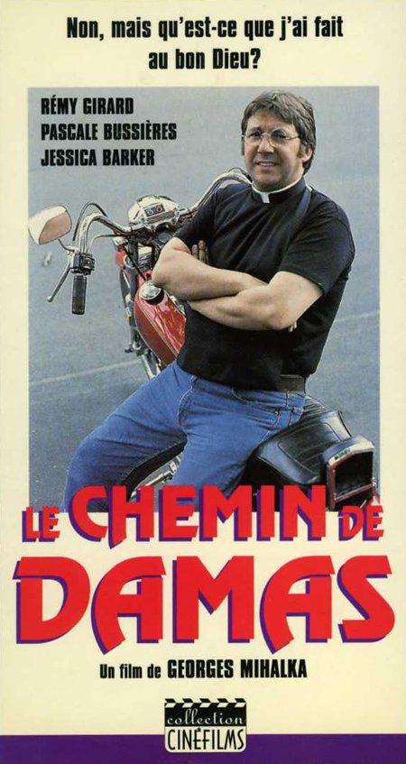 Jaquette VHS du téléfilm Le chemin de Damas sur laquelle on voit Rémy Girard appuyé contre une grosse moto (Source: collection personnelle)