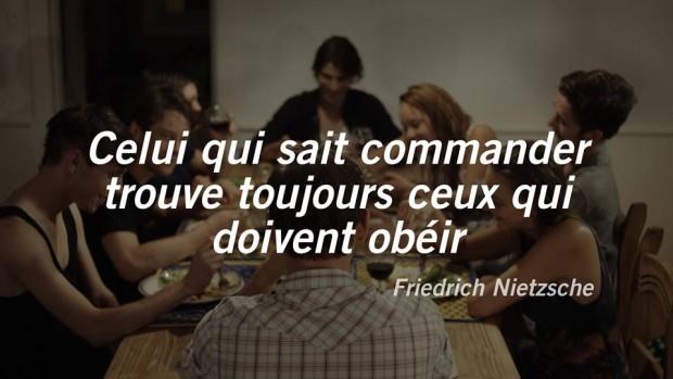 Image teaser du film Le rang du lion de Stéphan Beaudoin sur laquelle on peut lire une citation de Nietzsche (source: page Facebook du film)