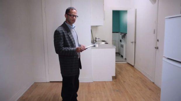 Images : Image extraite du film Le concierge de Federico Hidalgo (Joseph Antaki, travailleur au bureau de crédit de La Nationale) - Capture d'écran, source: filmsquebec.com