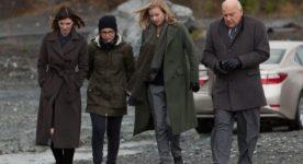 Image prise durant le tournage du film Pays - De g. à d. : Macha Grenon, Chloé Robichaud, Emily VanCamp, Serge Houde (Films Séville)
