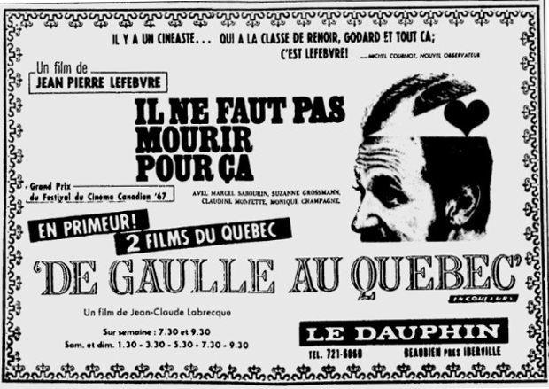 Encart publicitaire Il ne faut pas mourir pour ça paru dans la presse québécoise au moment de la sortie en salle, au Dauphin