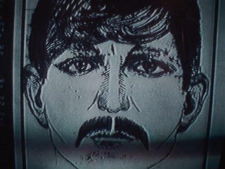 Le portrait robot du tueur de la Haute-Ville - Les yeux rouges d'Yves Simoneau (image extraite du film - Coll. filmsquebec.com)