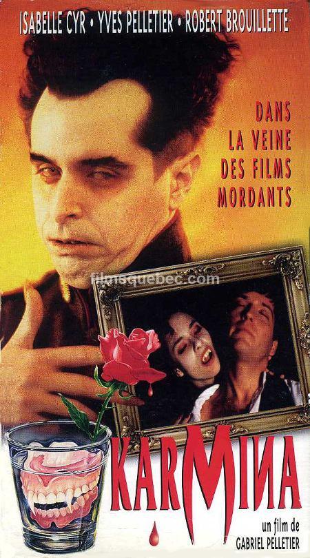 Image de la pochette avant de la VHS du film québécois Karmina de Gabriel Pelletier (Collection filmsquebec.com)