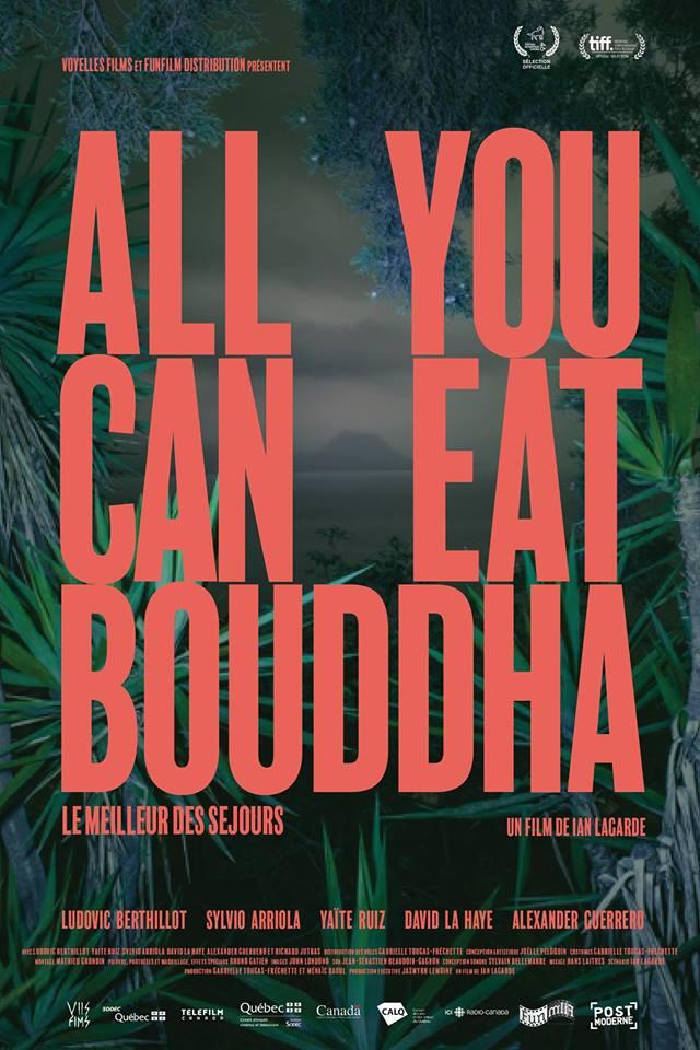 """Affiche (en version rouge) du film québécois """"All You Can Eat Bouddha"""" mis en scène par Ian Lagarde.L'affiche du film est une création d'Isabelle Guimond sur une photographie de Benoit Paillé."""