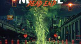 """Affiche du film indépendant """"Montréal Dead End"""" - On y voit une rue bordée de cônes oranges, un gros nid de poule et un esprit maléfique qui en sort."""