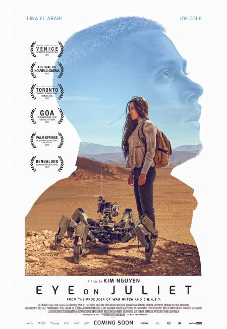 Affiche du film Eye On Juliet de Kim Ngyuen - On y voit le visage de l'acteur principla découpé su fond blanc.