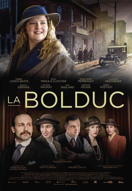 Affiche du film La Bolduc de François Bouvier - On y voit en haut le visage de la comédienne incarnant Mary Travers, et dans le bas, les portraits des cinq personnages secondaires.