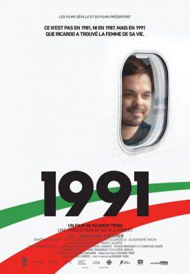Affiche du film 1991 - Réalisé par Ricardo Trogi - On y voit le comédien Jean-Carl Boucher souriant, regardant par un hublot d'avion