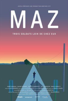"""Affiche du film Maz de Federico Hidalgo - trois soldats loin de chez eux - Une production """"Another City""""."""