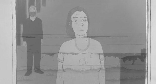 Image extraite du film Ville Neuve de Félix Dufour Laperrière - On y voit une femme à la fenêtre, un homme se tenant debout est derrière elle