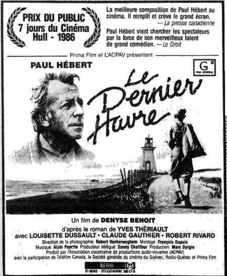Encart paru dans La Presse pour annoncer la sortie en salle du film Le dernier havre de Denyse Benoit