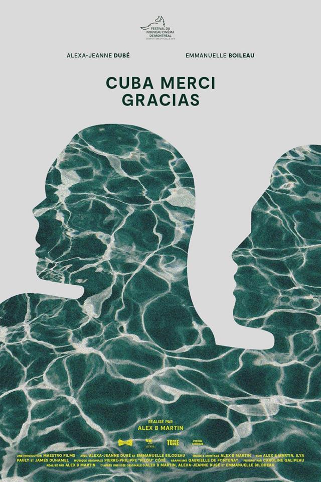 Affiche de Cuba Merci Gracias de Alex B. Martin (deux visages se dessinent sur des vagues de couleur verte)