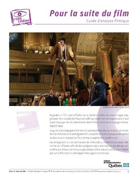 Couverture du guide d'analyse filmique intitulé « Pour la suite du film » de l'ACPQ
