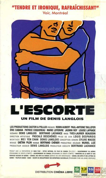 Pochette VHS du film L'Escorte de Denis Langlois (dessin de deux hommes enlacés sur fond bleu marine)