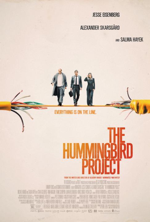 Affiche américaine du film The Hummingbird Project de Kim Nguyen (sur fonds beige, les trois comédiens marchent sur un câble dénudé)