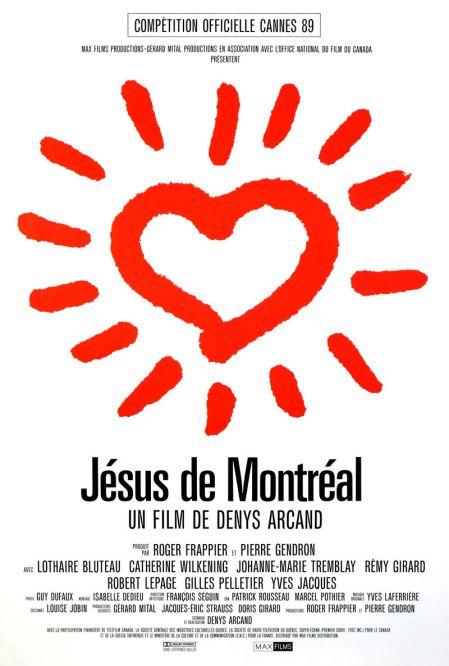Affiche québécoise du film Jésus de Montréal de Denys Arcand (un gros coeur étincelant en rouge sur fond blanc)