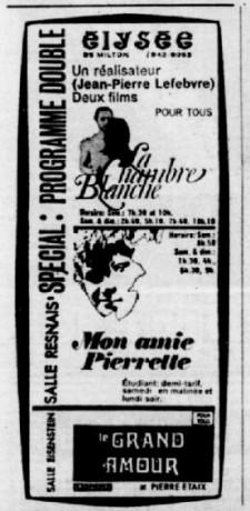 Encart Petit Journal, daté du dimanche 16 novembre 1969