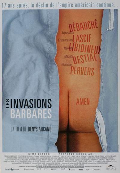 Affiche québécoise du film Les Invasions Barbares (Arcand, 2003 - Cinémaginaire - Alliance Vivafilm)