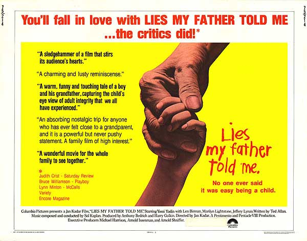 Publicité Columbia pour le film Lies My Father Told Me