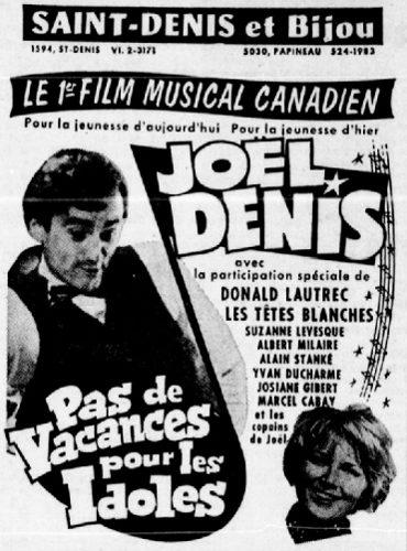 Encart publicitaire du film Pas de vacances pour les idoles de Denis Héroux tel que paru dans Le Petit Journal du 17 octobre 1965