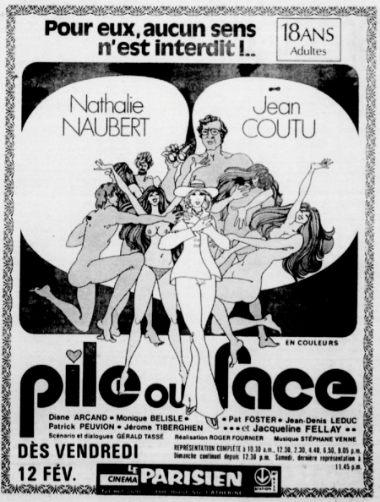 Encart publicitaire du film Pile ou face de Roger Fournier (Coll. personnelle)