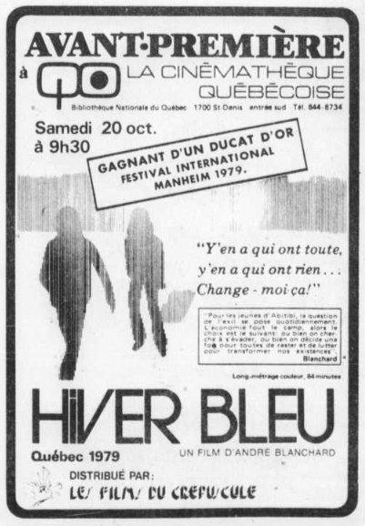 Encart paru dans Le Devoir pour l'annonce de la première montréalaise du film Hiver bleu d'André Blanchard