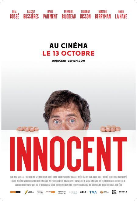 Affiche du film Innocent de Marc-André Lavoie où l'on voit la moitié du visage d'Emmanuel Bilodeau